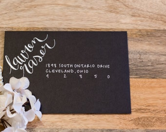 Wedding Invitation Calligraphy - White Ink on Black Paper