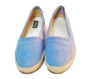 Vintage Light Blue Beacon USA Espadrille, Size 8 1/2 ,Shoes, Women's Shoes, Slip Ons, Espadrilles, Woven shoes, Canvas shoes, Casual Shoes