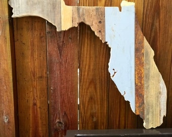 Florida Reclaimed Wood State Outline Wall Art - Large