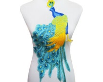 Free Shipping - Peacock Large Patch Lace Embroidered Patch Sew on Patches Applique Sticker Motif Venise Sewing Accessories for Craft T1617