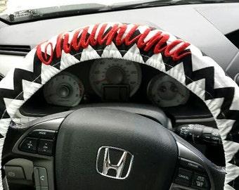 Black and White Chevron Steering Wheel cover.  Personalized Steering Wheel Cover. Car Accessories.