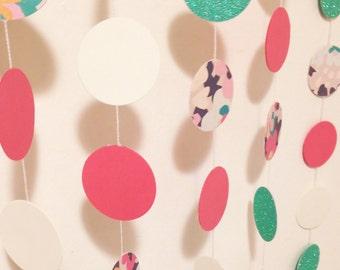 Pink, turquoise, white, floral circle garland - birthday garland, pink baby shower garland, bridal shower Garland
