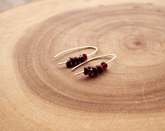 Garnet Earrings / Blood Red Garnet Earrings /Simple Garnet Earrings