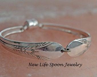 "Spoon Bracelet ""Inheritance"" Silverplate Bracelet Flatware Jewelry Vintage Jewelry Wedding Gift Handmade--33"