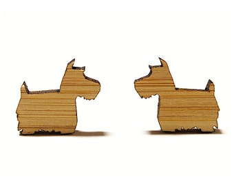 Scotty Dog Bamboo Stud Earrings // Scottish Terrier Earrings / Scottie Dog Earrings / Scottish Terrier / Dog Jewellery / Wooden Earrings