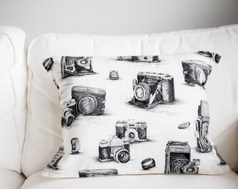 Free Shipping Spring /  Antique Camera Pillow case / vintage camera pillow / vintage camera print / antique / photography /old camera pillow