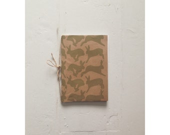 Screen Printed Hare Sketchbook in Heather Green A6
