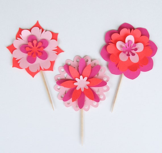 Whimsical garden flower cupcake picks flowers wikii i can mix and match your party theme colors guaranteed to be a conversation piece beautiful handmade layered paper flower cupcake toppers mightylinksfo