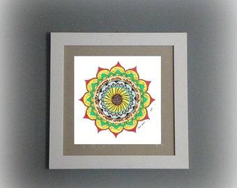 Original mandala art on paper - 'Oriental Dance' mandala, handdrawn - illustration - unique wall art - Spiritual art, aid for meditation