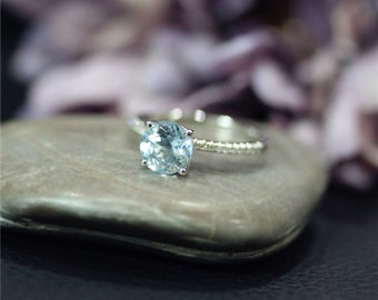 Natural Round VS Aquamarine Ring White Gold Ring solid 14K Gold Diamond Wedding Ring Promise Ring Engagement Ring Stackable Ring