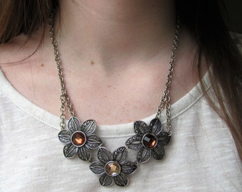 Rustic Floral Statement Necklace