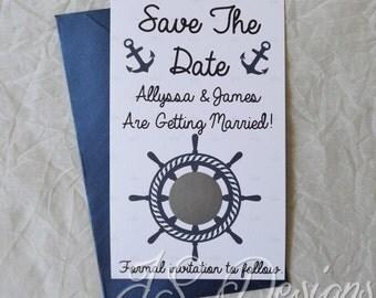 Scratch Off Save The Date Nautical Invitations x 10 pack