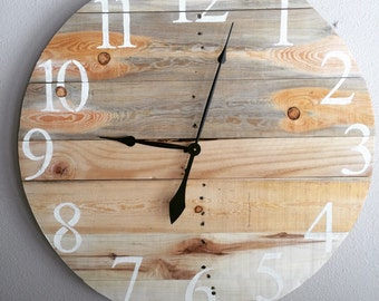 "28"" pallet clock with natural gray and blonde wood"