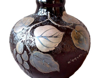 French Art Deco Glass Vase Signed D'ARGYL with Silvered Decor of Grapes - Art Glass