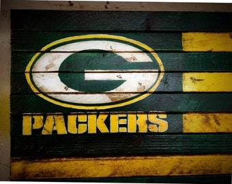 Green Bay Packers Flag, Green Bay Packers Sign, Green Bay Packers Wood Sign, Green Bay Packers Wood Flag, Vintage Green Bay Packers