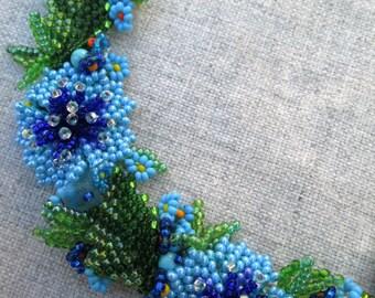 Ukrainian Jewelry. Unique necklace for woman. Ukrainian Necklace. Cornflowers