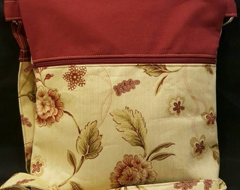"Handmade ""Williamsburg"" print crossbody purse"