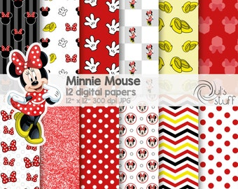 "Minnie Mouse red digital paper pack, instant download, 12"" x 12"""