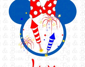 Personalized 4th of July Disney Shirt Minnie Mouse Monogram Iron On Transfer Personalized FREE
