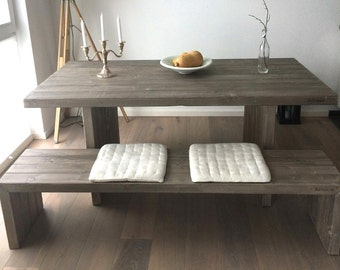 Dining table / bench 'Cube' made of lumber