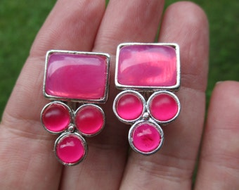 Vintage Pink Art Deco Costume Jewelry Clip on Ear Rings