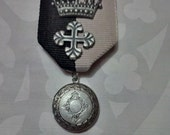 Crown and Locket Heraldic Medal in Pewter Finish on Grey and Black Ribbon Pin