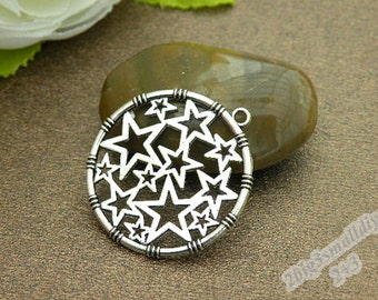 20pcs 32x32mm silver stars charm pendant round pendant with two sides