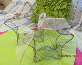 Set of Two Chicken Wire Star Baskets With Large White Bows and Red Bling Flowers - For Hanging or Sitting