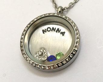 NONNA - What do you call Grandma? - Nan Mama Floating Charm Locket - Memory Locket - Custom Hand Stamped Gift