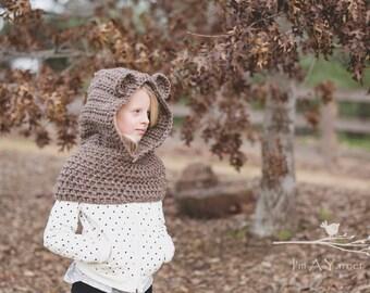 Brown Bear Hood, Brown Bear, Bear Hoodie, Animal Hood, Baby Bear, Baby Bear Hood, Crochet Hood, Knit Hood, Bear Hat, Hooded Cowl, Teddy Bear