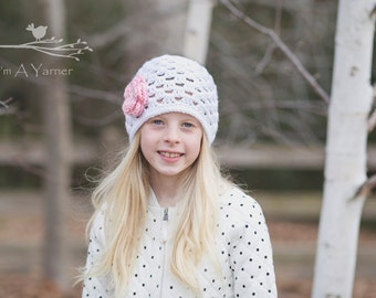Summer Hat, Crochet Summer Beanie, Crochet Lace Hat, White Cloche Hat, Toddler Easter Outfit, Crochet Cap, Flower Girl Hat, Easter Flowers