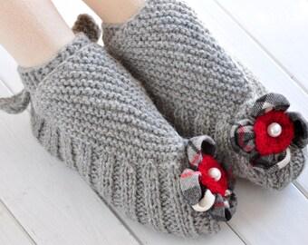 Knitted Slippers, Slippers, Socks, Japanese Socks, Grey Slippers, Wool Slippers, Gift for Her, Knit Slippers, Handmade socks, Alpaca Wool