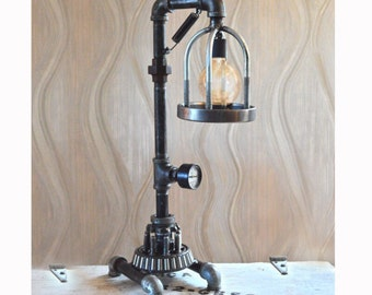Moving Gear Pipe Lamp w/ Metal Cage: Industrial, Rustic, Steampunk, Modern, Urban