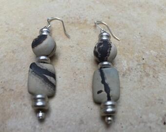Scenic Jasper Earrings, Jasper Earrings, Stone Earrings, Tan Earrings, Natural Stone Earrings, Organic Earrings,