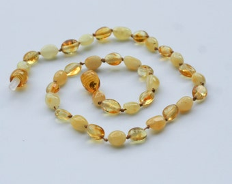 Genuine Baltic amber necklace teething support, child/youth size 12.5 in. Safety knotted. Ready to ship