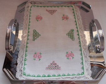 Vintage Hand Made Embroidered Tray Cloth or Doily - Pink and Green