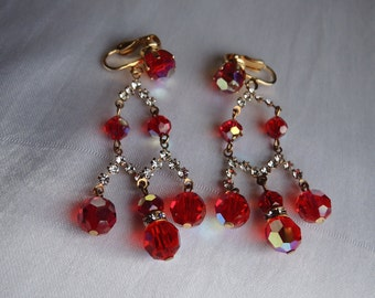 Vintage Red Aurora Borealis Chandelier Clip On Earrings