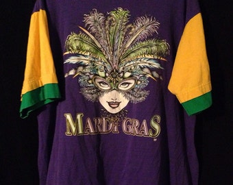 Vintage 90's Mardi Gras color block tee XL