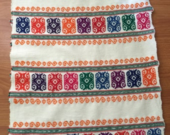 "Colorful table runner handwoven in a waist loom 76"" X 15"" ( 192cm x 38cm)"