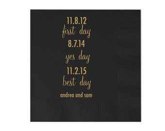 Important Dates Personalized Wedding Napkins