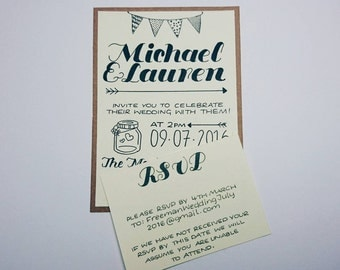 Rustic country wedding invite and Rsvp card
