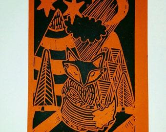 Mid-century inspired Shy Fox Print. 20 x 30. Retro folksy scandi inspired. Original handmade art.