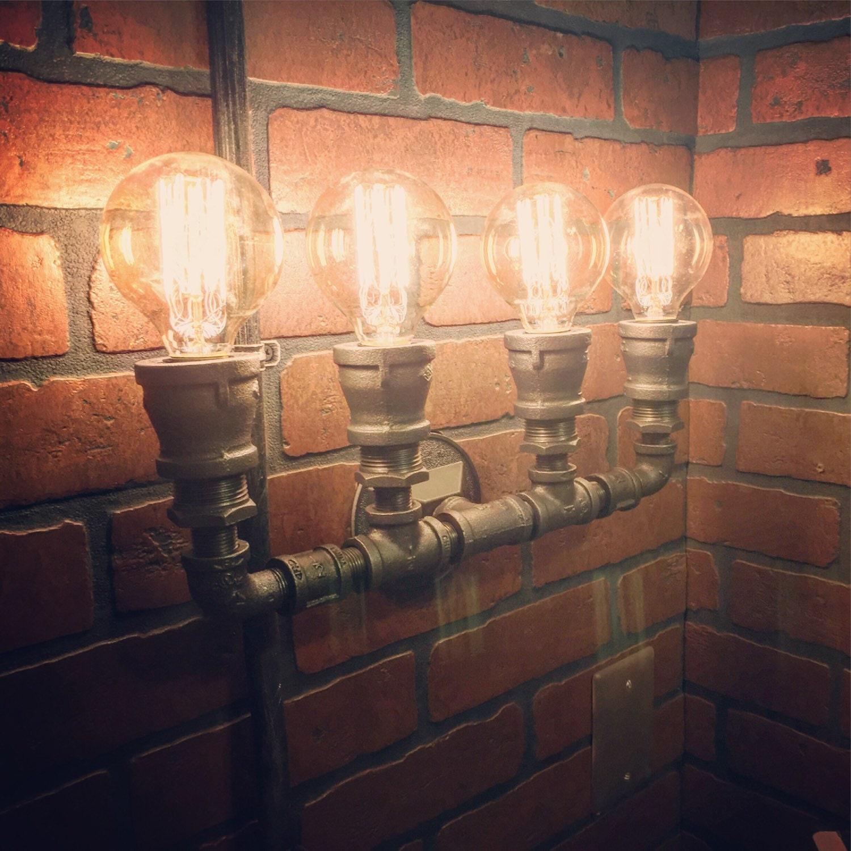 Industrial Steampunk Heavy Duty 4 Bulb Pipe Wall Light. Hidden