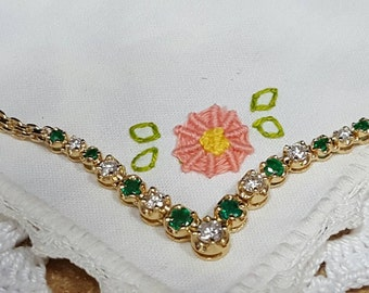 Vintage 14kt. Yellow gold emerald and diamond necklace.