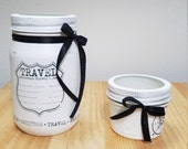 White Black Mason Jar Office Set. White. Black. Painted Ball Mason Jars. Mason Jar desk set. Business Card Mason Jars.
