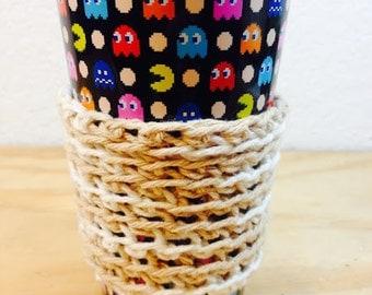 Tan and White Crochet Coffee Sleeve