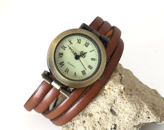 Ladies french leather watch 5mm brown winding bronze dial