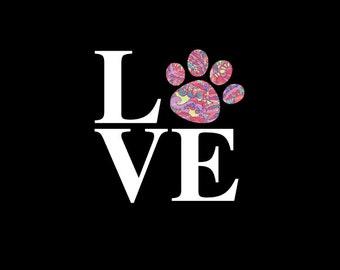Love Paw Print Patterned Vinyl Decal, Custom Vinyl Decal, Dog, Puppy, Pet, Car Decal, Vinyl Decal