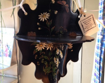 Black Laquer Victorian folding shelf w hand painted daisies & butterflies