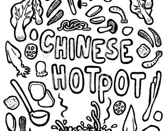 Chinese food art etsy for Chinese food coloring pages